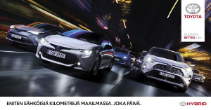 Toyotan hybridin on valinnut jo 15 miljoonaa kuljettajaa ympäri maailman. Hybridimallistomme on Suomessakin suosituin. Yli 20 vuoden edelläkävijyytemme hybrideissä tarkoittaa asiakkaillemme kestävää tekniikkaa, käytön helppoutta ja tehokasta sähköajoa jopa 50 % matkasta. Itselataavaa hybridiämme ei tarvitse erikseen ladata sähköpistokkeesta, ja automaattivaihteisto on aina vakiona. Tervetuloa kokemaan hybrid-ajon vaivattomuus Kuopion Autokaupassa ja nappaamaan mahtavat edut Toyota Hybrid Edition mallistosta! https://www.kuopionautokauppa.fi/yritys/ajankohtaista/huippuvarusteltu-hybrid-edition-mallisto.html