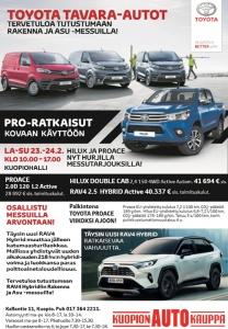 Tervetuloa tutustumaan Toyota tavara-autojen valikoimaamme Rakenna ja Asu -messuille! 🚗 Luvassa on messutarjouksia ja arvonta, jossa voit voittaa Toyota Proacen viikoksi koeajoon. Osastoltamme pääset tutustumaan myös täysin uuteen katumaasturiin, RAV4 Hybridiin. Rakenna ja Asu -messut järjestetään Kuopio-hallilla 23.24.2. Nähdään messuilla!